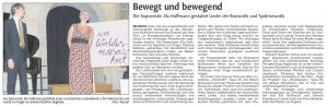 """Artikel über die Premier e des Liederabend """"In Waldeseinsamkeit"""" von Efa Hoffmann und Edward Rushton in der Vaihinger Kreiszeitung"""